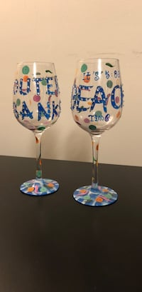 two white-and-blue floral footed glasses Fairfax, 22030