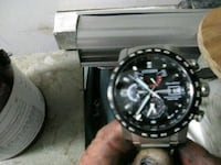 round black chronograph watch with black leather strap Seattle