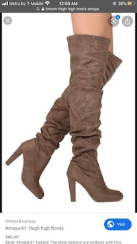 Brown Over Knee Boots Size 7US Silver Spring, 20906