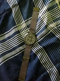 round black chronograph watch with brown leather strap Hamilton, L8E 5H6