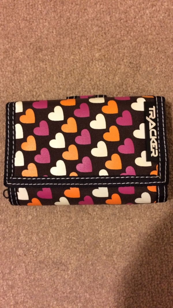 Brown with pink, white and orange hearts trifold wallet 50035f16-ff37-4fee-a9cc-af53a047b0d9