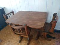 rectangular brown wooden table with four chairs dining set Latrobe, 15650