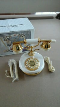 white and gold rotary telephone Las Vegas, 89129