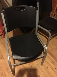 6 Gray and black armchairs