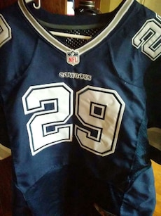 blue and white Cowboys 29 print jersey shirt