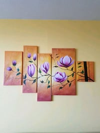 four panel painting of purple petaled flowers Mississauga, L4Y 3G8