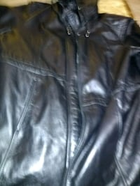 Genuine leather dress jacket with hoodie