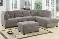 gray fabric sectional sofa with ottoman 2292 mi