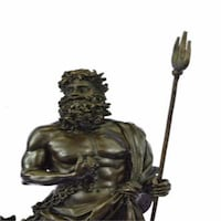 Pluto Zeus and Poseidon Brother Holding Dog Bronze Sculpture Sterling