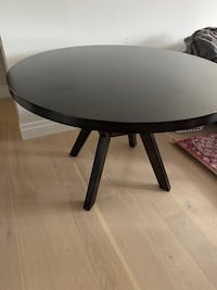Espresso round wood dining table