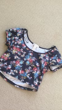 blue multicolored floral print scoop neck top 伯纳比, V3N