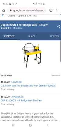 Tile saw....never used bridge tile saw