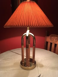 brown wooden base with red lampshade table lamp Austin, 78727