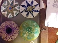 Hand painted discs. For decoration or coasters.   Kansas City, 66104