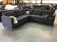 tufted black leather sectional sofa Georgetown, 78633