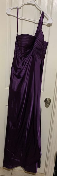 Purple gown, one-shouldered