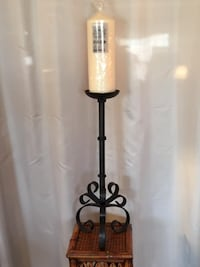 Tall Wrought Iron Candle Holder with New Candle  Lansdowne