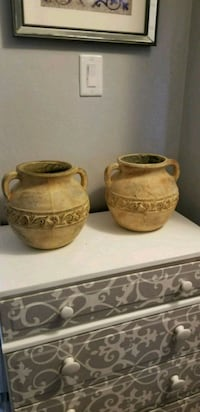 two brown ceramic candle holders St. Louis, 63121