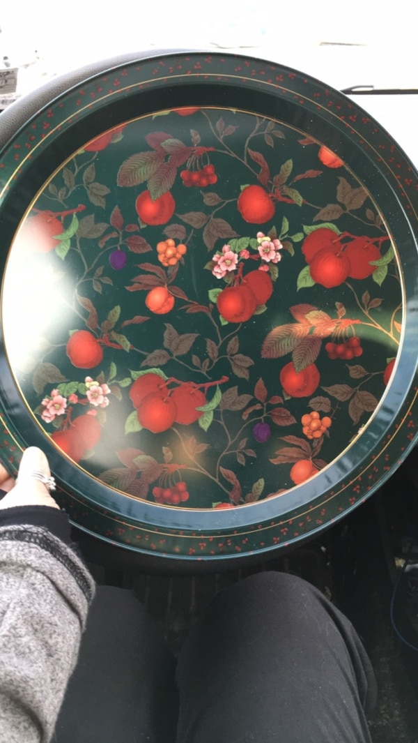 "Tin (12""?) plate...hunter green background with flowers and fruit on it"