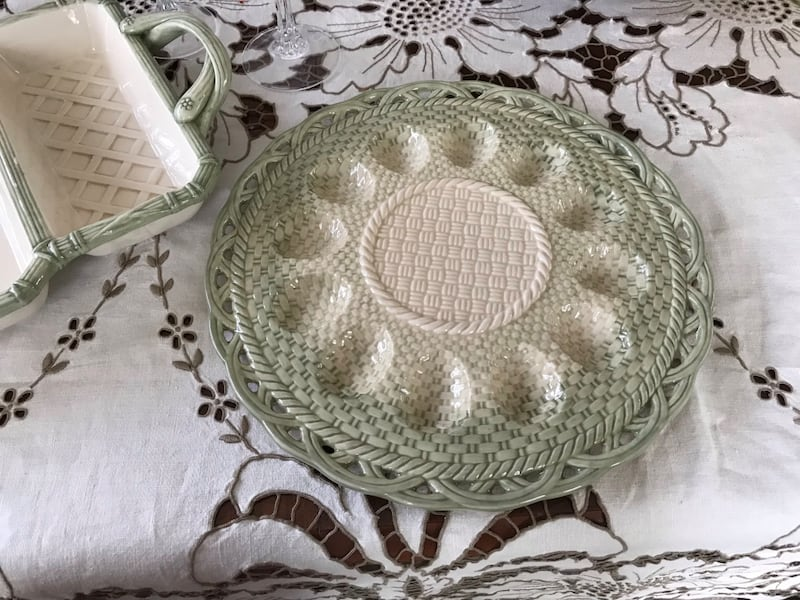 Easter serving dish and deviled egg plate 1