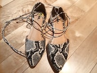 black-and-white snakeskin leather print flats MONTREAL