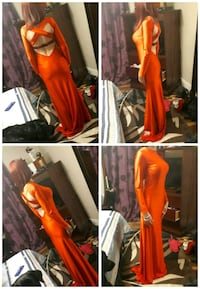 women's orange open-back long-sleeved gown collage