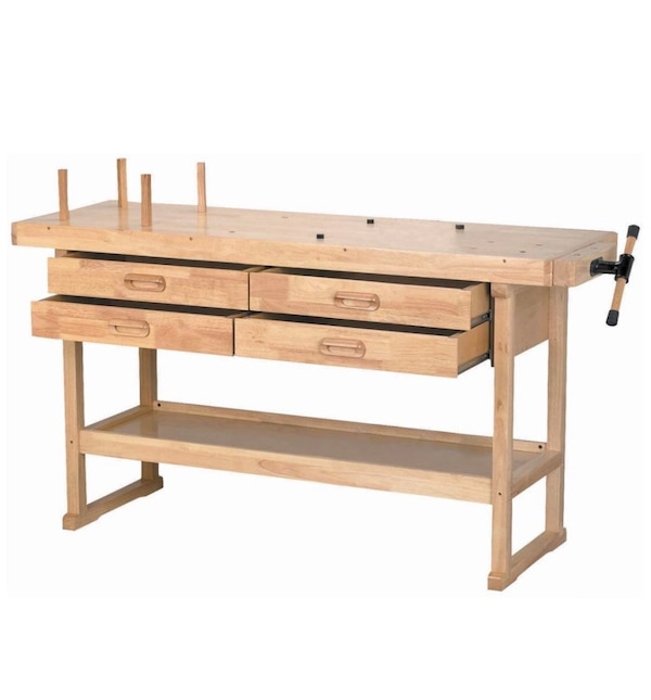 Work Bench Table For Shop Garage Woodworking Crafts Adjustable Desk Top Drawers Heavy Duty Industrial Organizer