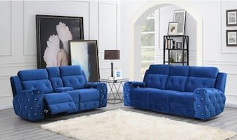 GLOBAL FURNITURE U8311-BLUE VELVET SOFA AND LOVESEAT RECLINER NEW !!!