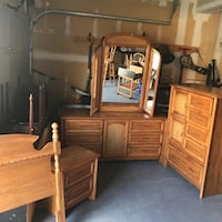 Very solid double bedroom set dresser mirror chest one night table and double headboard with railing . Free delivery close by area.  Brampton, L7A