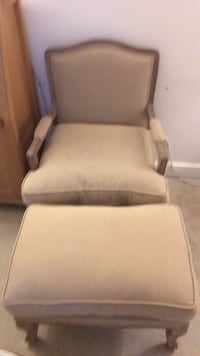 Louis style armchair and footstool this has hardly been used paid £290 for it buyers collect  Rainham, RM13 9SH