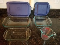 Pyrex and Anchor glass bakeware with 2 lids and a 2cup measuring cup Frederick