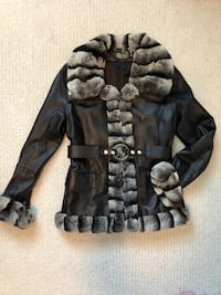 Leather jacket with fur trim and belt Ladies Small Surrey, V4N 0C7