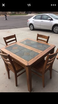 rectangular brown wooden table with four chairs dining set Mesa, 85201