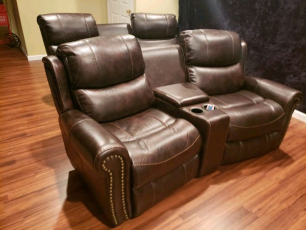 Used Brown Leather Recliner Sofa Movie Theater Chairs For Sale In