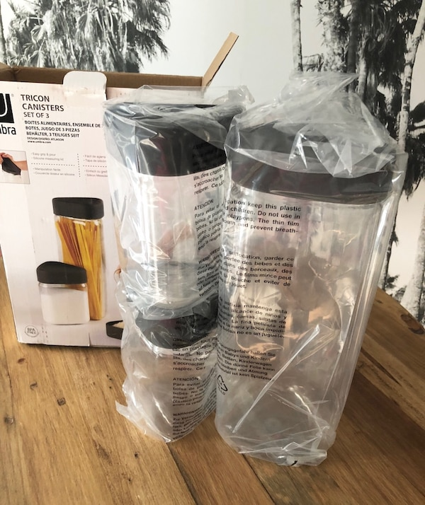 UMBRA Canister Set 3-Piece Black Silicone Lids NEW IN BOX! e62ed59b-a40f-4c40-8d85-6d2819575243