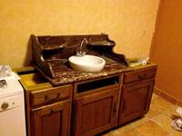 Maroon marble sink counter with white sink (no faucet) 6499 km