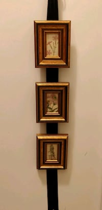 Set of 3 small floral pictures in gold wood frame Whitby