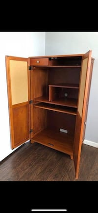 brown wooden computer desk with hutch 50 km
