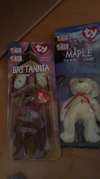 New in package McDonald's TY beanie bears. Maple and Brittania. These are both from 1999. Laval, H7Y 2C1