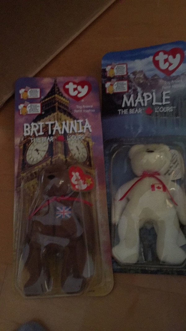 New in package McDonald's TY beanie bears. Maple and Brittania. These are both from 1999. 3ce2380d-9a0f-4945-84cc-ffb164819d54