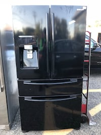 black Samsung french refrigerator with dispenseer Franklin Lakes, 07417