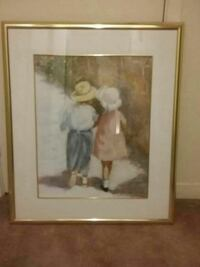 two boy and girl in white and pink tops painting with frame Kitchener, N2E 2E4