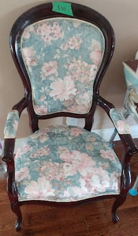 brown wooden framed white and green floral padded armchair TORONTO
