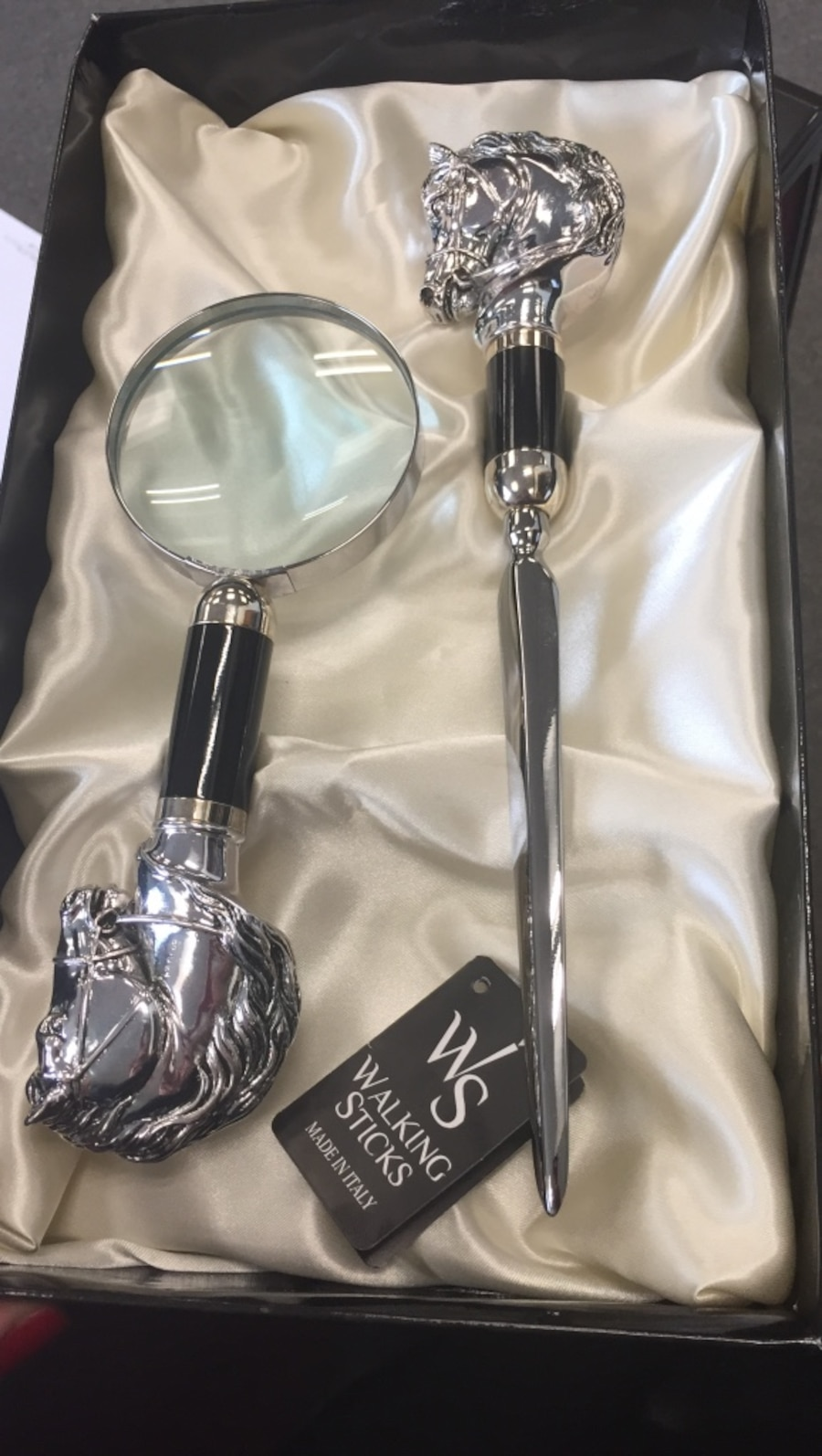 WS walking stick; sterling silver coated handle magnifying glass