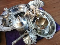 stainless steel condiment jar and two oval bowls