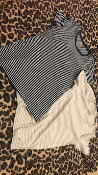 Stripped Short Sleeved Shirts For Women