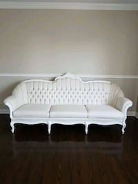 white wooden framed white fabric padded sofa 531 km
