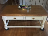 Distressed white wood coffee table large  w two drawers