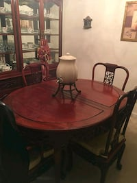 oval brown wooden dining table with chairs set Woodbridge, 22191
