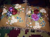 Ribbon n thread embroidered cushion covers. I have a few beautiful pieces of cushion covers with ribbon embroidery done by myself n embellished with beads, pearls, stones and or crystals. These pieces can b framed too. I can make more too Arlington, 22209